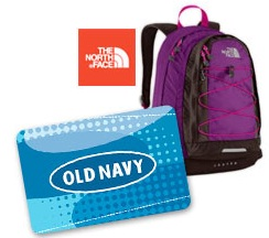 100 Old Navy gift card giveaway 24 hour GIVEAWAY: Win $100 Old Navy gift card + backpack from The North Face ($55 value)!!