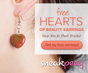 sneakpeek earrings Free Hearts of Beauty Earrings {$49 value} + FREE shipping (& free $10 credit)!
