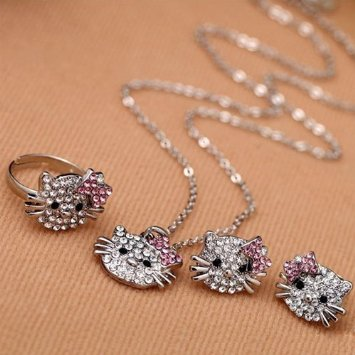 hello kitty jewelry set PRICE DROP! Hello Kitty 4 piece Rhinestone Jewelry Set $2 SHIPPED (great gift)!