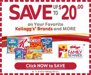 $20 worth of FREE Kelloggs coupons!