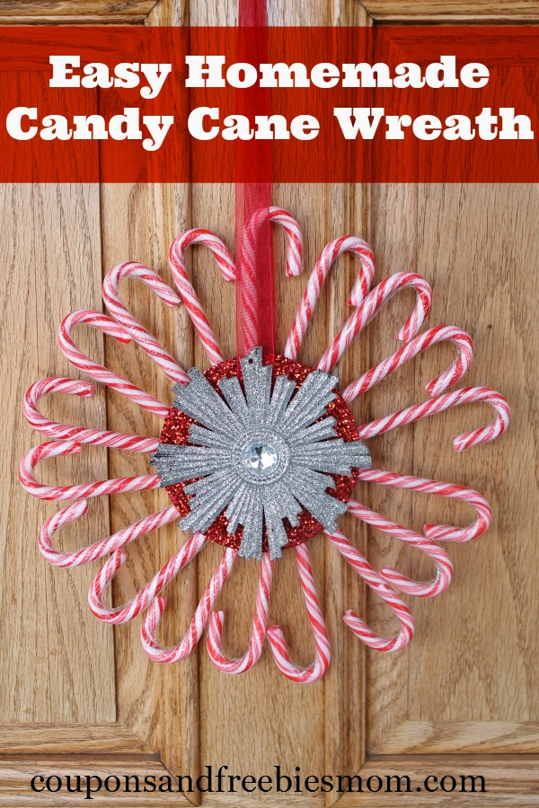 Easy homemade candy cane wreath coupons and freebies mom for Easy candy cane crafts
