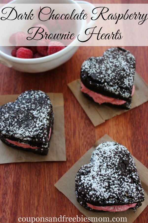 Dark Chocolate Raspberry Brownie Hearts