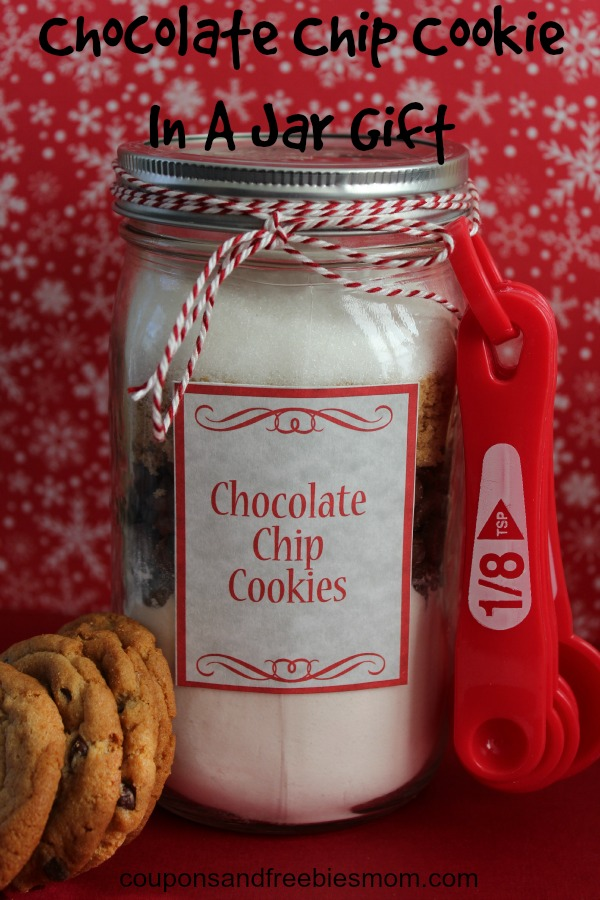 chocolate chip cookie in a jar gift
