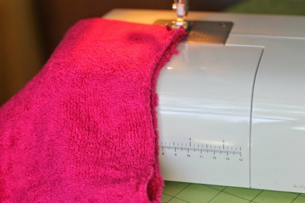 hooded towel sew cut