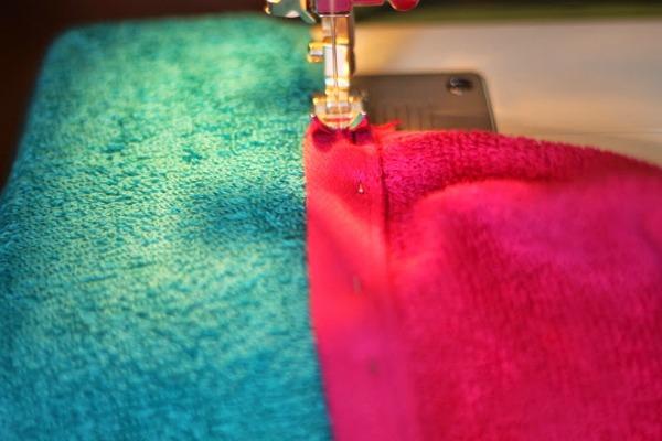 hooded towel sew pin
