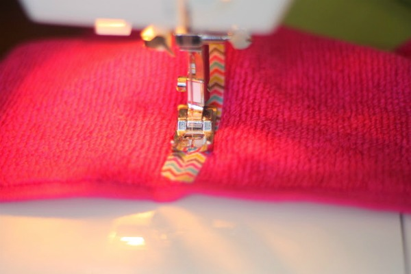 hooded towel sew ribbon