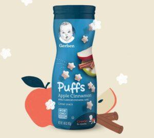 6-Gerber Puffs Snacks de cereais com canela e maçã $ 8.61 1